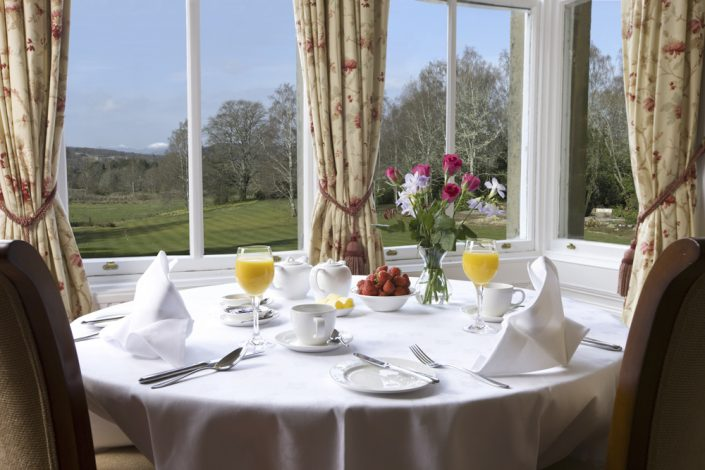 Breakfast with a view at the Coul House Hotel, Contin, NC500, Scotland.