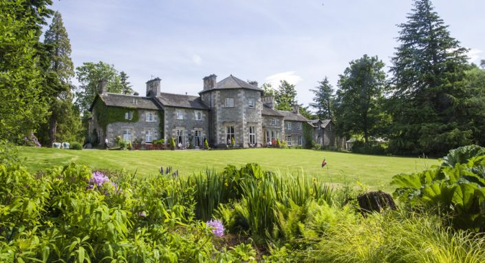 Exterior of the Coul House Hotel, a luxury hotel near Inverness, Scotland.