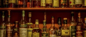 Selection of Local Whisky on offer at the bar at the Coul House Hotel Contin, near Inverness in the Scottish Highlands.