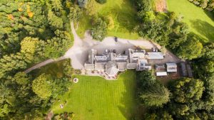 An arial image of the Coul House Hotel and grounds in the stunning Scottish highlands.