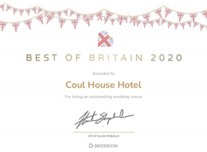 Outstanding Wedding Venue Award awarded by Bridebook, UK to Coul House Hotel, Contin, Scottish Highlands.
